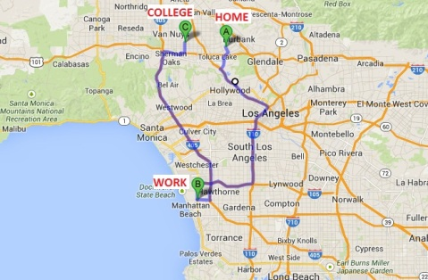 Nearly 2 years of 3hr round-trip from Home to Work (9a-5p) to School (7p-10:30p) back to Home.